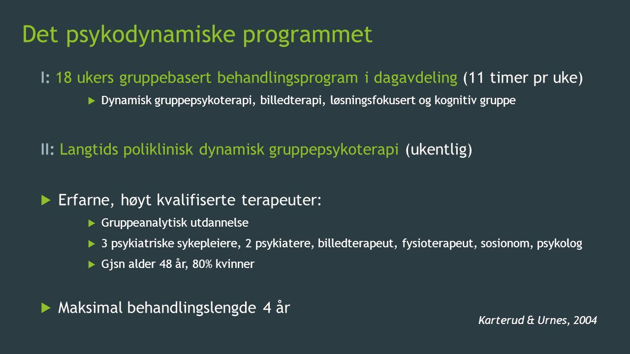 Det psykodynamiske programmet I: 18 ukers gruppebasert behandlingsprogram i dagavdeling (11 timer pr uke)  Dynamisk gruppepsykoterapi, billedterapi,