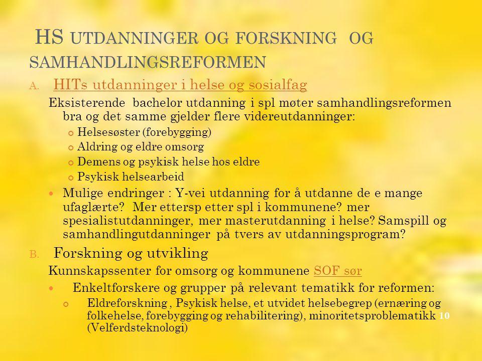 HS UTDANNINGER OG FORSKNING OG SAMHANDLINGSREFORMEN A.