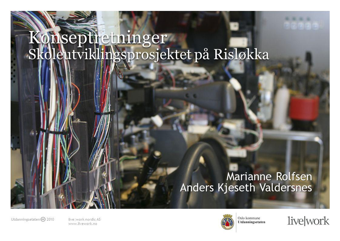 live|work nordic AS www.livework.no Utdanningsetaten 2010 Skoleutviklingsprosjektet på Risløkka KonseptretningerKonseptretninger Anders Kjeseth Valdersnes Marianne Rolfsen