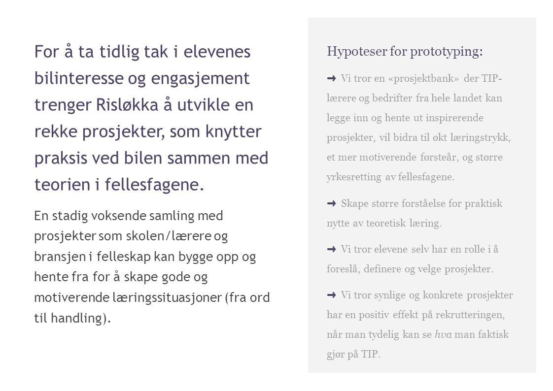 For å ta tidlig tak i elevenes bilinteresse og engasjement trenger Risløkka å utvikle en rekke prosjekter, som knytter praksis ved bilen sammen med teorien i fellesfagene.