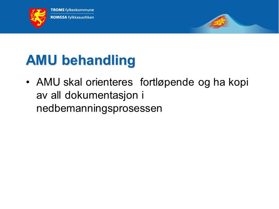 AMU behandling •AMU skal orienteres fortløpende og ha kopi av all dokumentasjon i nedbemanningsprosessen