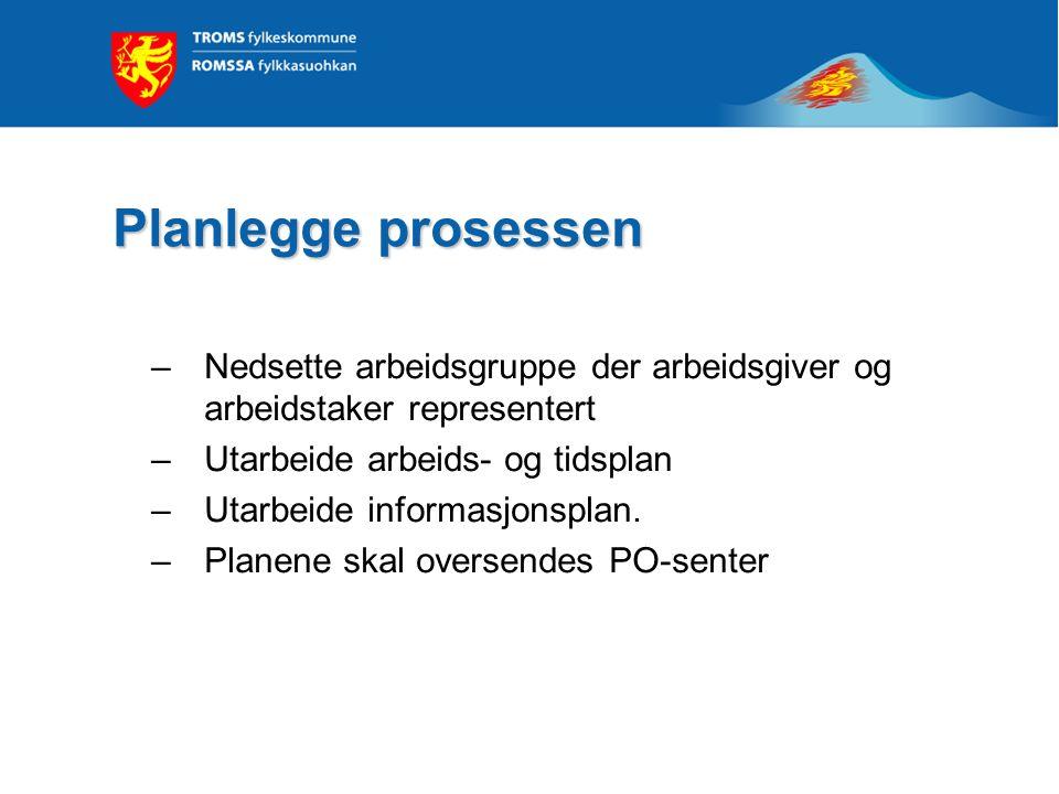 Planlegge prosessen Planlegge prosessen –Nedsette arbeidsgruppe der arbeidsgiver og arbeidstaker representert –Utarbeide arbeids- og tidsplan –Utarbei