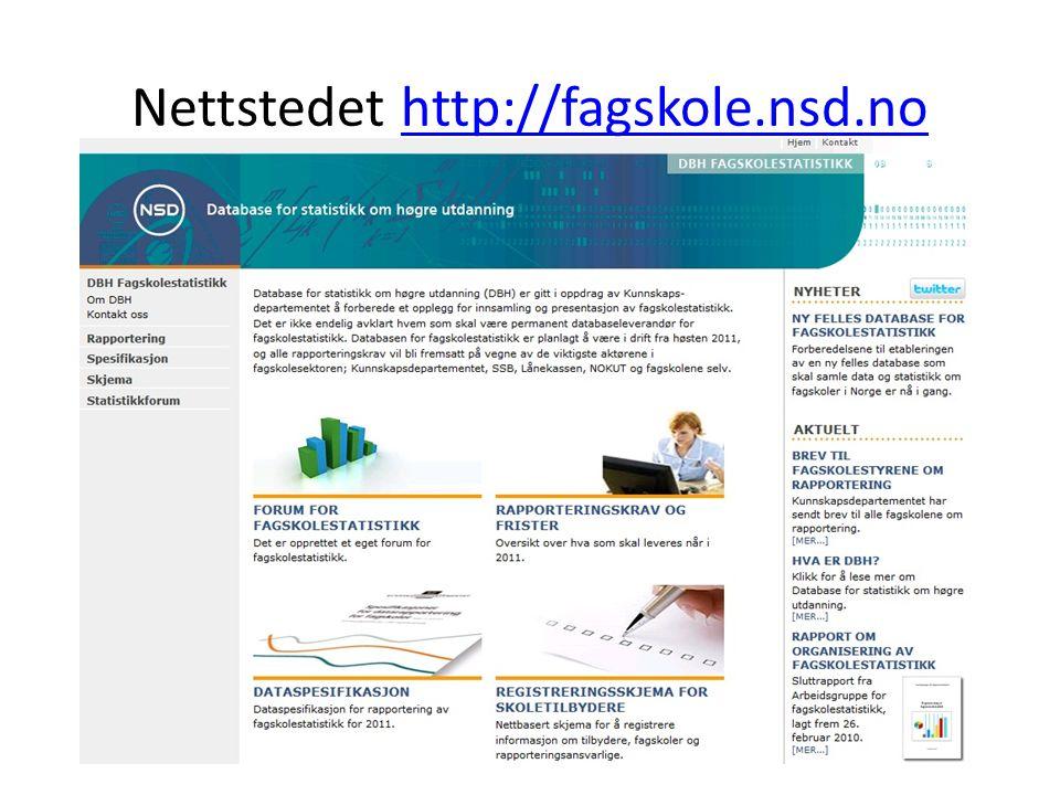 Nettstedet http://fagskole.nsd.nohttp://fagskole.nsd.no