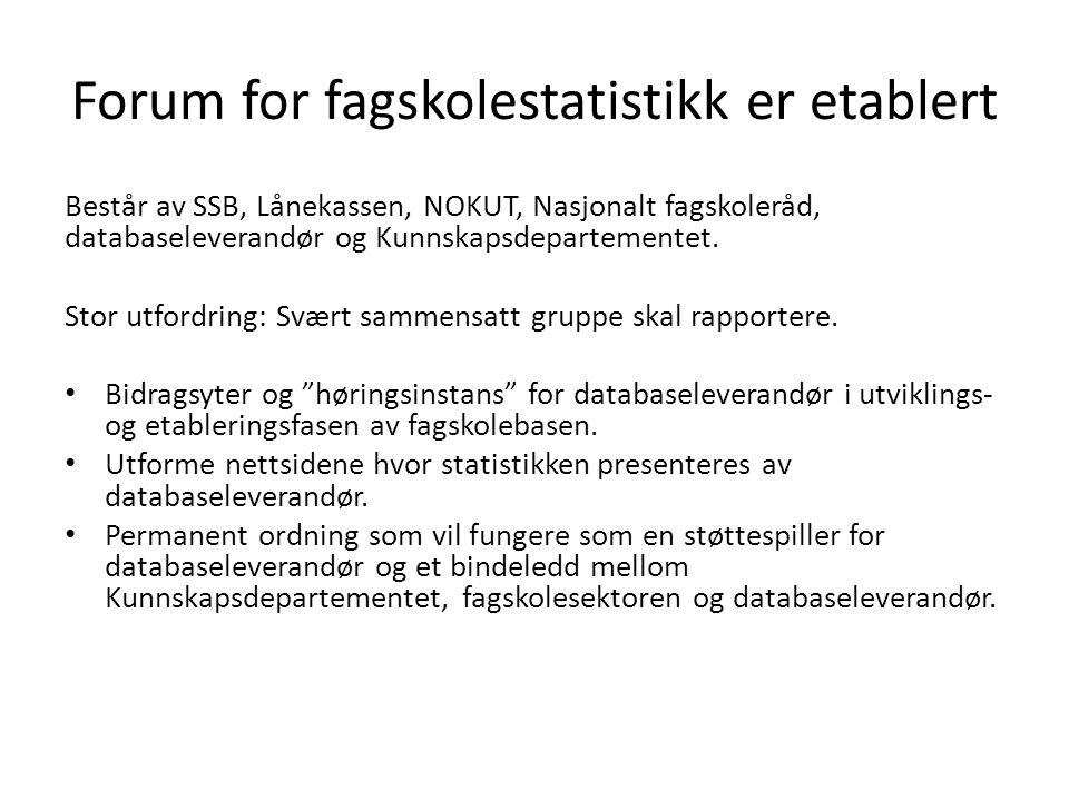 Forum for fagskolestatistikk er etablert Består av SSB, Lånekassen, NOKUT, Nasjonalt fagskoleråd, databaseleverandør og Kunnskapsdepartementet.