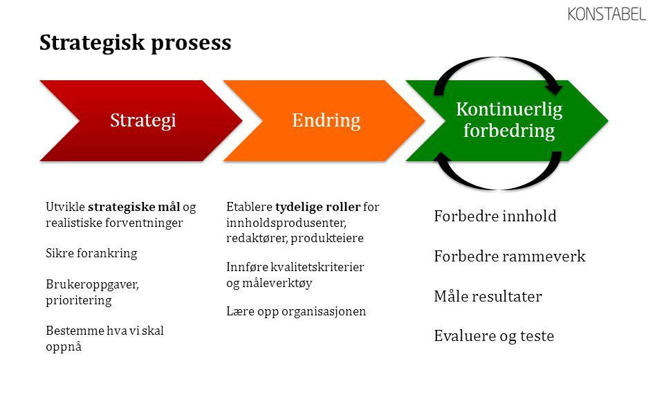 Strategisk prosess Utvikle strategiske mål og realistiske forventninger Sikre forankring Brukeroppgaver, prioritering Bestemme hva vi skal oppnå Etabl