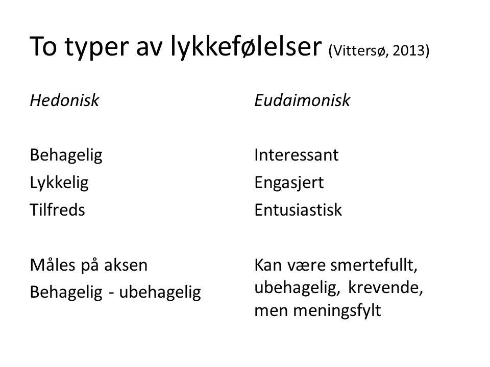 To typer av lykkefølelser (Vittersø, 2013) Hedonisk Behagelig Lykkelig Tilfreds Måles på aksen Behagelig - ubehagelig Eudaimonisk Interessant Engasjer