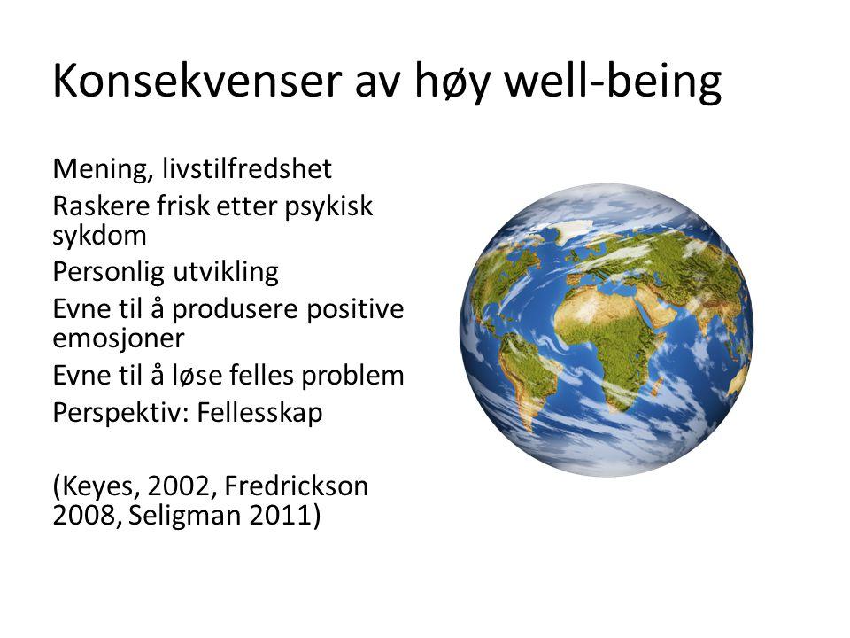 Konsekvenser av høy well-being Mening, livstilfredshet Raskere frisk etter psykisk sykdom Personlig utvikling Evne til å produsere positive emosjoner