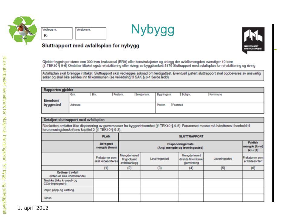 Kurs utarbeidet avnettverk for Nasjonal handlingsplan for bygg- og anleggsavfall 1. april 2012 Nybygg