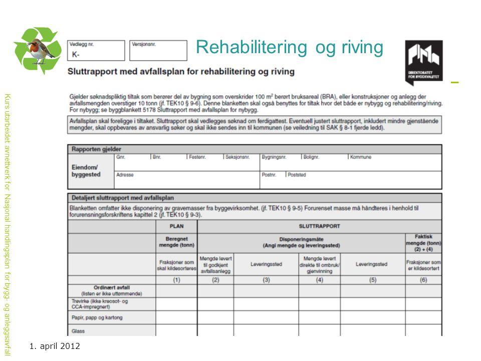 Kurs utarbeidet avnettverk for Nasjonal handlingsplan for bygg- og anleggsavfall 1. april 2012 Rehabilitering og riving