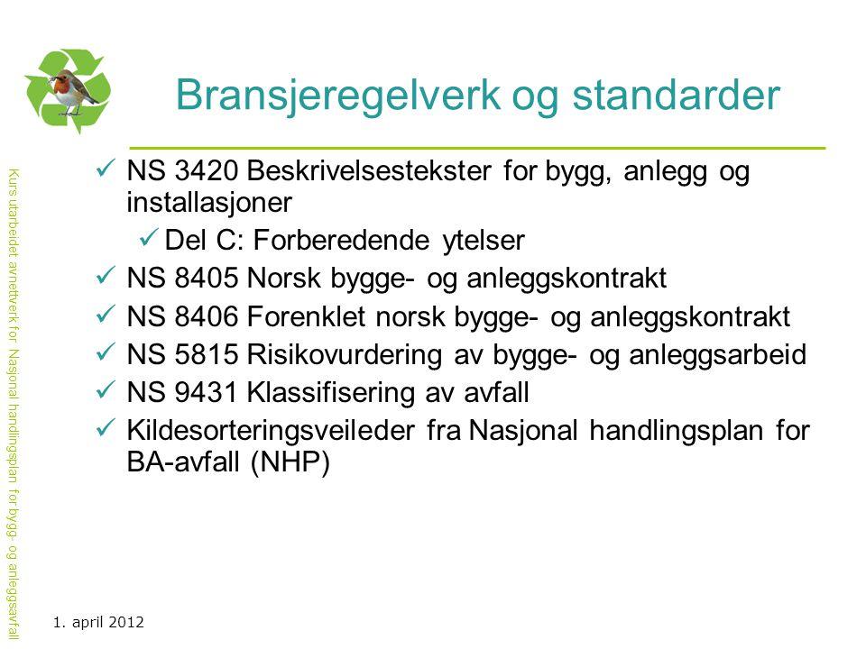 Kurs utarbeidet avnettverk for Nasjonal handlingsplan for bygg- og anleggsavfall Bransjeregelverk og standarder  NS 3420 Beskrivelsestekster for bygg