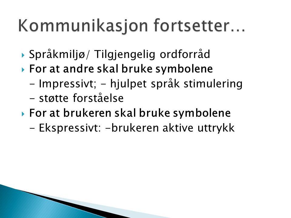  Språkmiljø/ Tilgjengelig ordforråd  For at andre skal bruke symbolene - Impressivt; - hjulpet språk stimulering - støtte forståelse  For at bruker