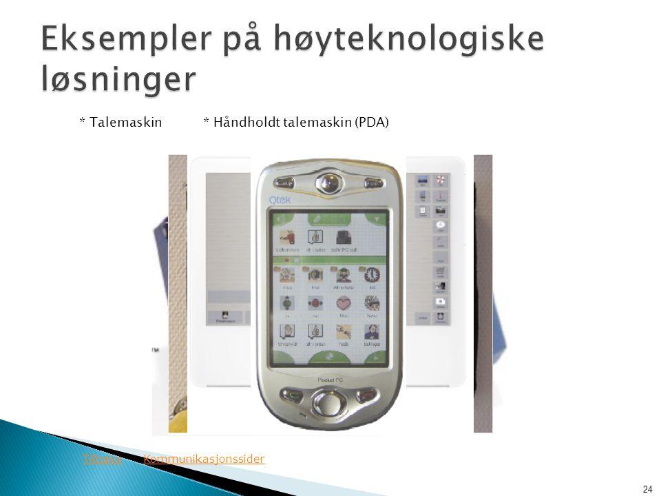 * Talemaskin* Håndholdt talemaskin (PDA) 24 TilbakeKommunikasjonssider