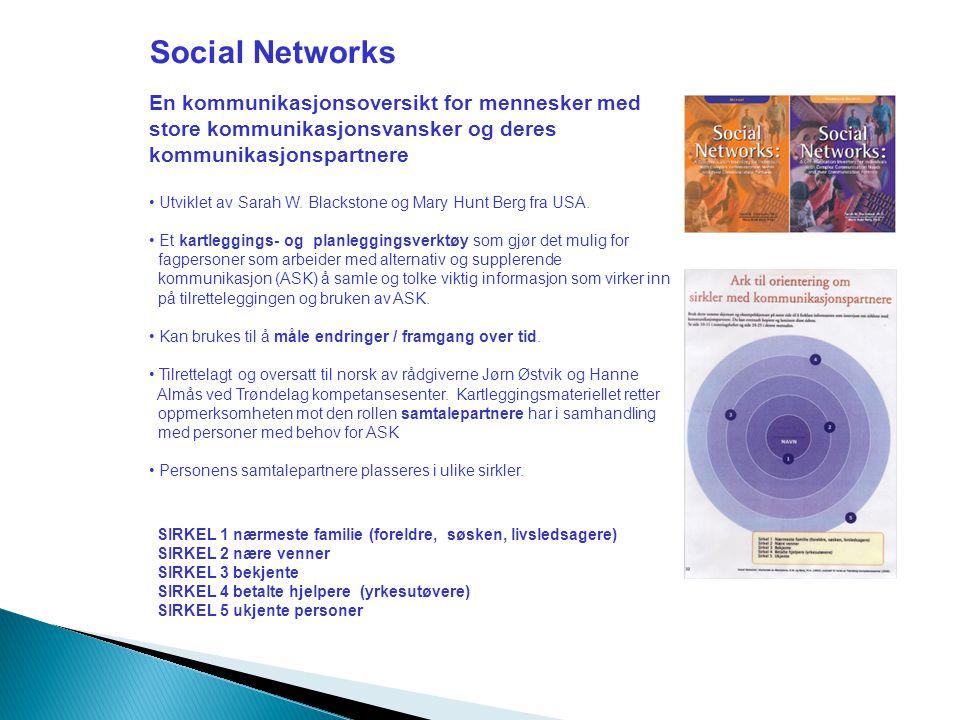 Social Networks En kommunikasjonsoversikt for mennesker med store kommunikasjonsvansker og deres kommunikasjonspartnere • Utviklet av Sarah W.