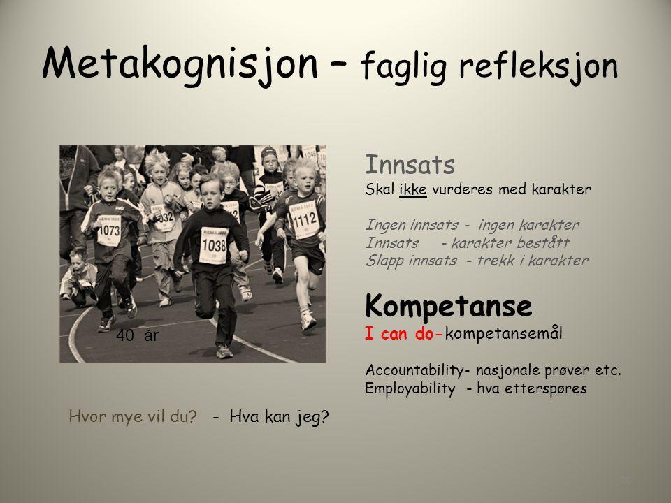 Metakognisjon – faglig refleksjon Innsats Skal ikke vurderes med karakter Ingen innsats - ingen karakter Innsats - karakter bestått Slapp innsats - trekk i karakter Kompetanse I can do-kompetansemål Accountability- nasjonale prøver etc.
