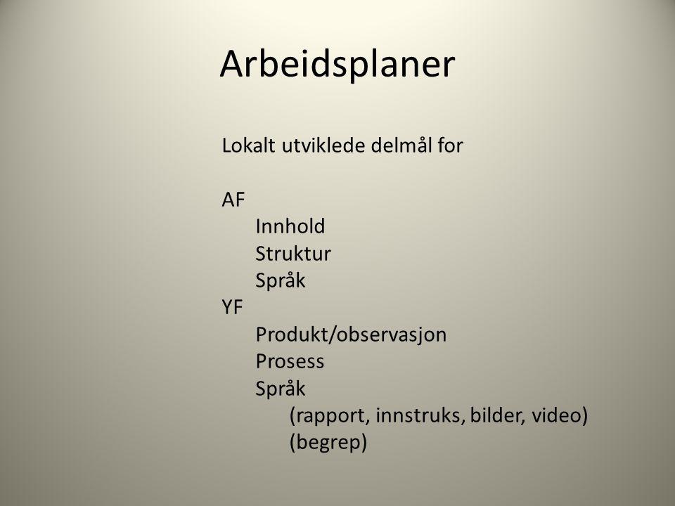 Arbeidsplaner Lokalt utviklede delmål for AF Innhold Struktur Språk YF Produkt/observasjon Prosess Språk (rapport, innstruks, bilder, video) (begrep)