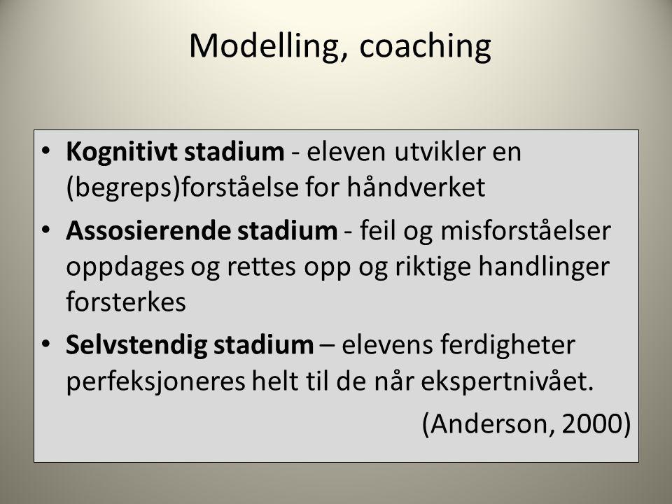 Modelling, coaching • Kognitivt stadium - eleven utvikler en (begreps)forståelse for håndverket • Assosierende stadium - feil og misforståelser oppdages og rettes opp og riktige handlinger forsterkes • Selvstendig stadium – elevens ferdigheter perfeksjoneres helt til de når ekspertnivået.