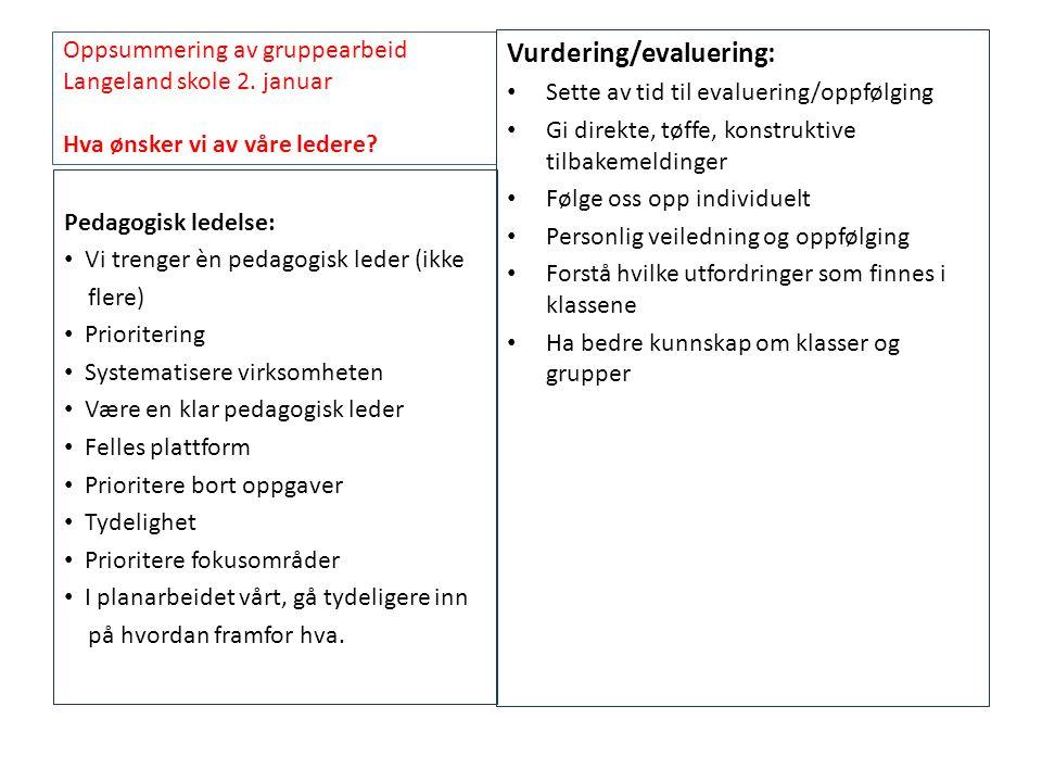 Oppsummering av gruppearbeid Langeland skole 2. januar Hva ønsker vi av våre ledere? Vurdering/evaluering: • Sette av tid til evaluering/oppfølging •