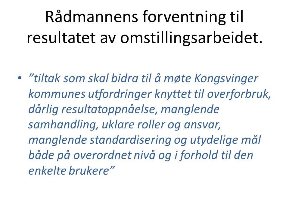 """Rådmannens forventning til resultatet av omstillingsarbeidet. • """"tiltak som skal bidra til å møte Kongsvinger kommunes utfordringer knyttet til overfo"""