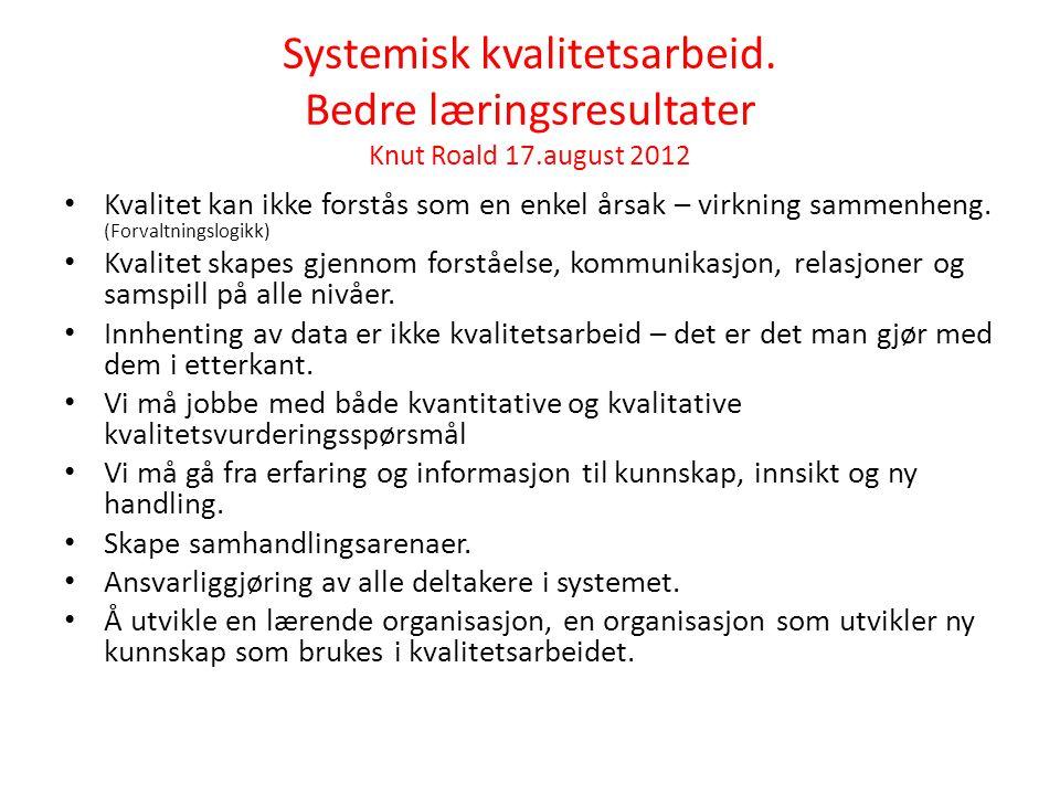 Systemisk kvalitetsarbeid. Bedre læringsresultater Knut Roald 17.august 2012 • Kvalitet kan ikke forstås som en enkel årsak – virkning sammenheng. (Fo