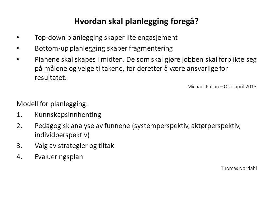 Hvordan skal planlegging foregå? • Top-down planlegging skaper lite engasjement • Bottom-up planlegging skaper fragmentering • Planene skal skapes i m
