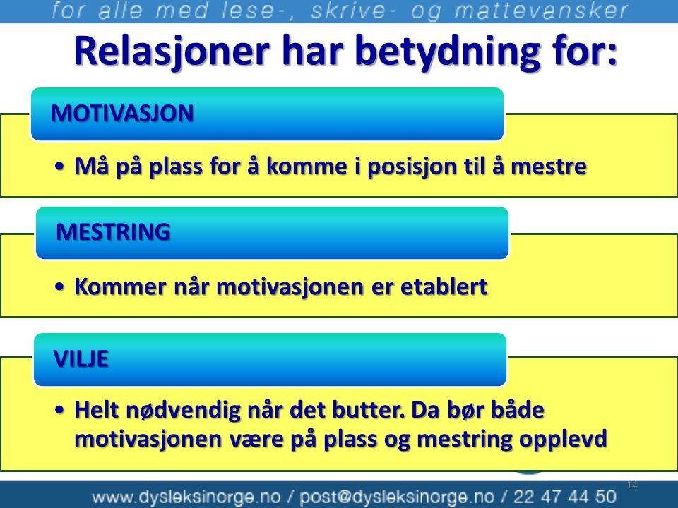 Relasjoner har betydning for: •Må på plass for å komme i posisjon til å mestre MOTIVASJON •Kommer når motivasjonen er etablert MESTRING •Helt nødvendi