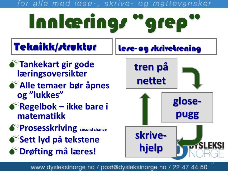 """Innlærings """"grep"""" Innlærings """"grep"""" tren på nettet glose- pugg skrive- hjelp Teknikk/struktur Lese- og skrivetrening  Tankekart gir gode læringsovers"""