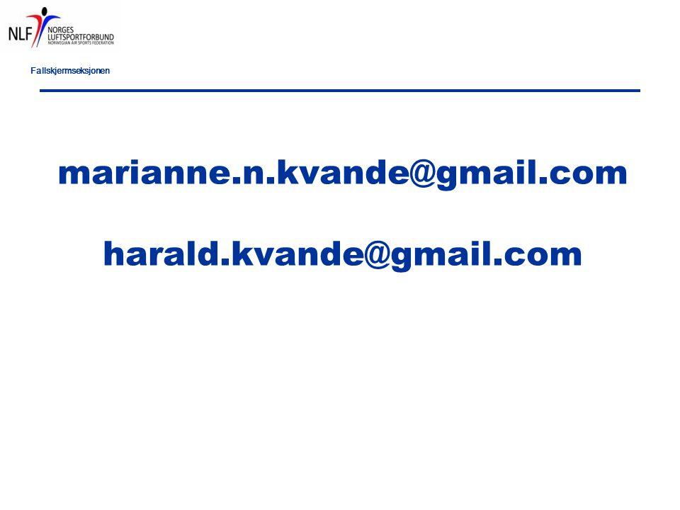 Fallskjermseksjonen marianne.n.kvande@gmail.com harald.kvande@gmail.com