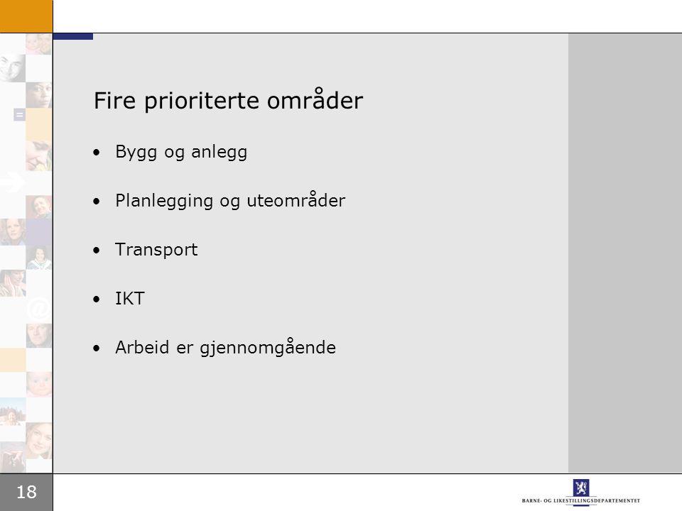 18 Fire prioriterte områder •Bygg og anlegg •Planlegging og uteområder •Transport •IKT •Arbeid er gjennomgående