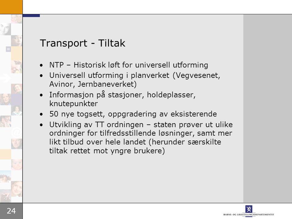 24 Transport - Tiltak •NTP – Historisk løft for universell utforming •Universell utforming i planverket (Vegvesenet, Avinor, Jernbaneverket) •Informas