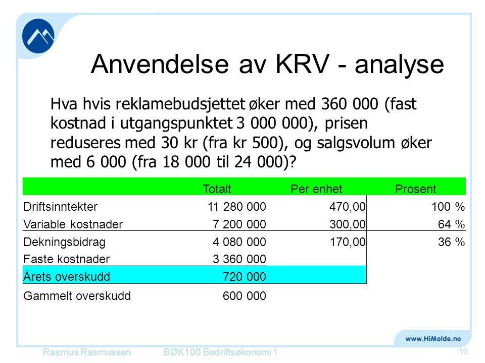Anvendelse av KRV - analyse BØK100 Bedriftsøkonomi 1 10 Hva hvis reklamebudsjettet øker med 360 000 (fast kostnad i utgangspunktet 3 000 000), prisen