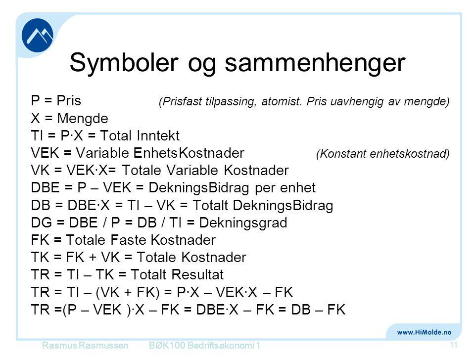 Symboler og sammenhenger P = Pris (Prisfast tilpassing, atomist. Pris uavhengig av mengde) X = Mengde TI = P∙X = Total Inntekt VEK = Variable EnhetsKo