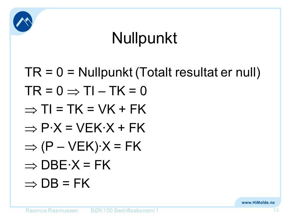 Nullpunkt TR = 0 = Nullpunkt (Totalt resultat er null) TR = 0  TI – TK = 0  TI = TK = VK + FK  P∙X = VEK∙X + FK  (P – VEK)∙X = FK  DBE∙X = FK  D