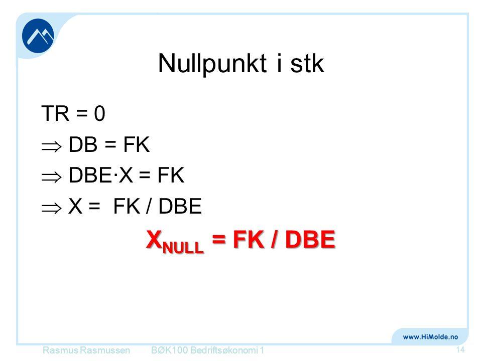 Nullpunkt i stk TR = 0  DB = FK  DBE∙X = FK  X = FK / DBE X NULL = FK / DBE Rasmus RasmussenBØK100 Bedriftsøkonomi 1 14