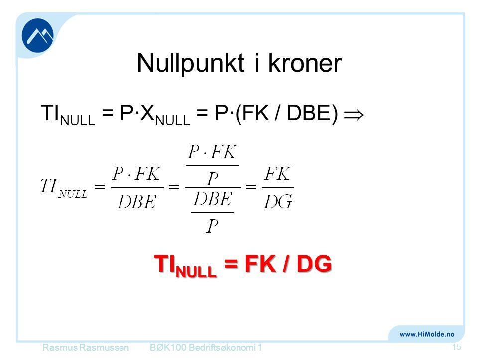 Nullpunkt i kroner TI NULL = P∙X NULL = P∙(FK / DBE)  Rasmus RasmussenBØK100 Bedriftsøkonomi 1 15 TI NULL = FK / DG