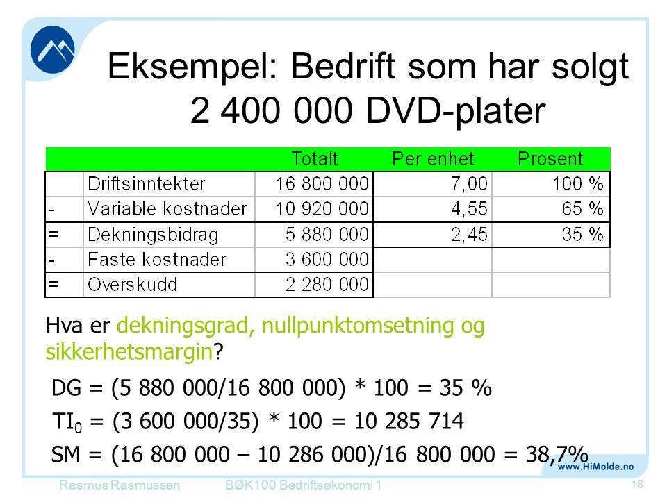 Eksempel: Bedrift som har solgt 2 400 000 DVD-plater BØK100 Bedriftsøkonomi 1 18 Hva er dekningsgrad, nullpunktomsetning og sikkerhetsmargin? DG = (5