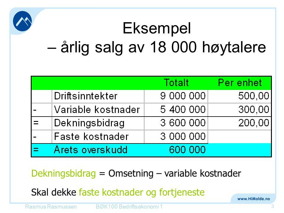 Eksempel – årlig salg av 18 000 høytalere BØK100 Bedriftsøkonomi 1 3 Dekningsbidrag = Omsetning – variable kostnader Skal dekke faste kostnader og for