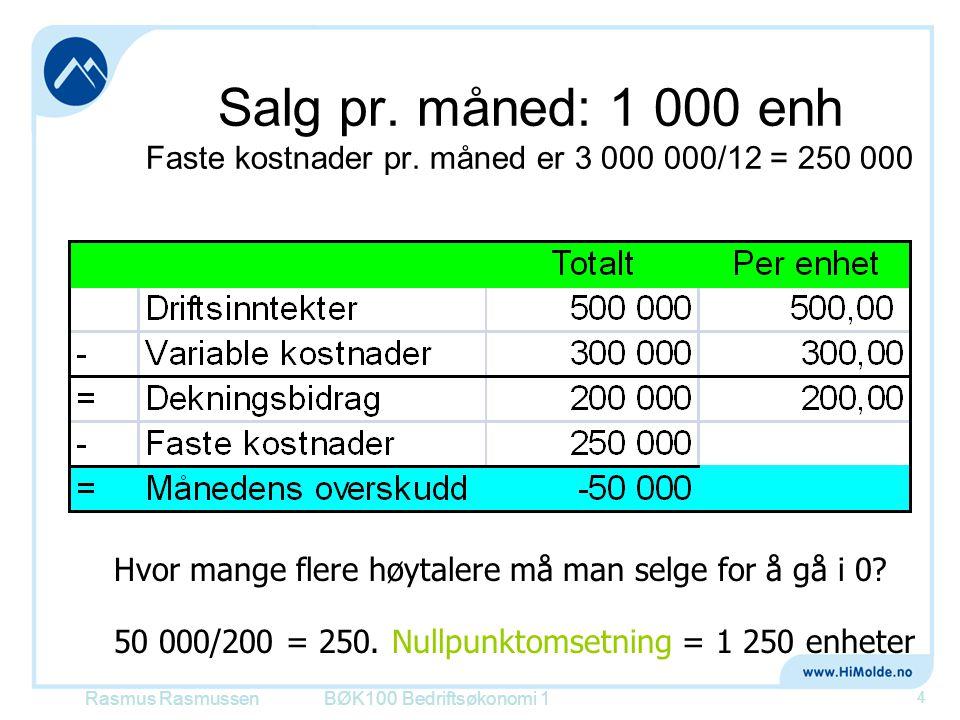 Salg pr. måned: 1 000 enh Faste kostnader pr. måned er 3 000 000/12 = 250 000 BØK100 Bedriftsøkonomi 1 4 Hvor mange flere høytalere må man selge for å