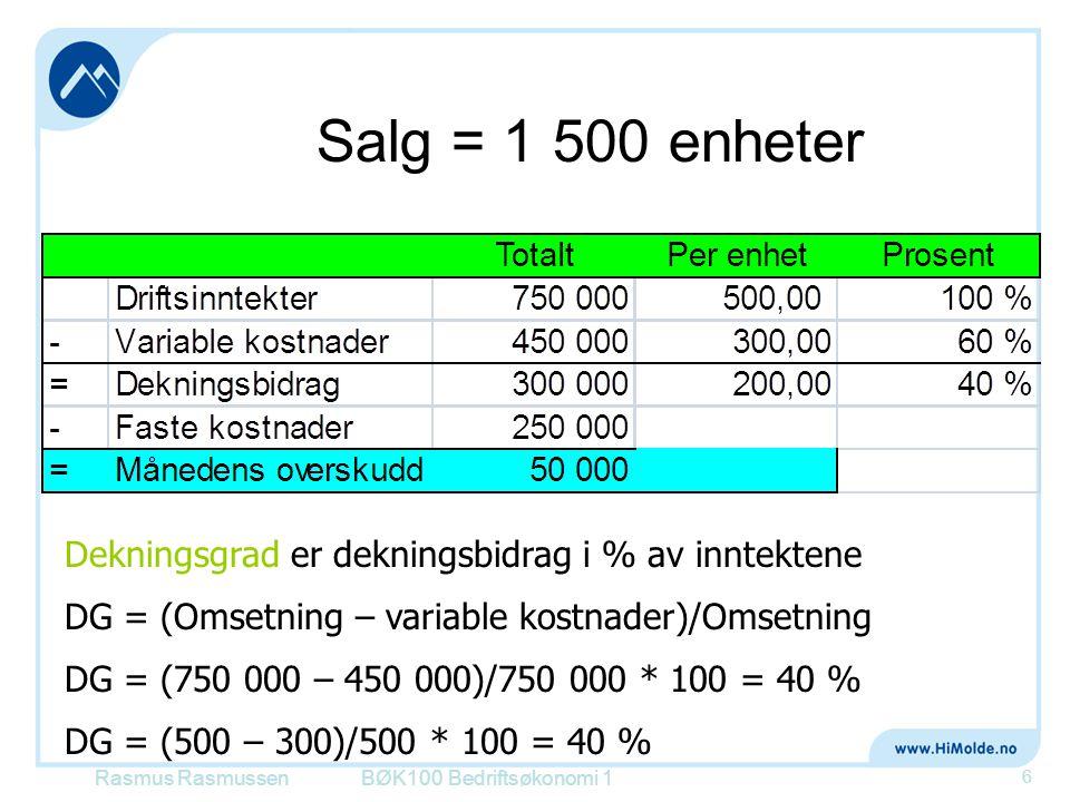 Salg = 1 500 enheter BØK100 Bedriftsøkonomi 1 6 Dekningsgrad er dekningsbidrag i % av inntektene DG = (Omsetning – variable kostnader)/Omsetning DG =