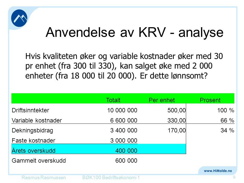 Anvendelse av KRV - analyse BØK100 Bedriftsøkonomi 1 9 Hvis kvaliteten øker og variable kostnader øker med 30 pr enhet (fra 300 til 330), kan salget ø