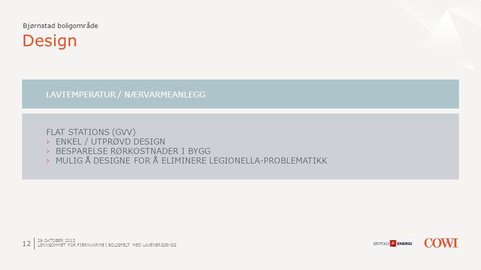 12 Design Bjørnstad boligområde LAVTEMPERATUR / NÆRVARMEANLEGG FLAT STATIONS (GVV) ›ENKEL / UTPRØVD DESIGN ›BESPARELSE RØRKOSTNADER I BYGG ›MULIG Å DE