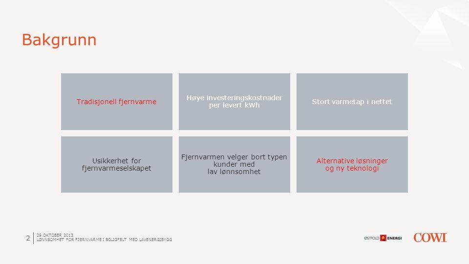 2 Bakgrunn Tradisjonell fjernvarme Høye investeringskostnader per levert kWh Stort varmetap i nettet Usikkerhet for fjernvarmeselskapet Fjernvarmen ve