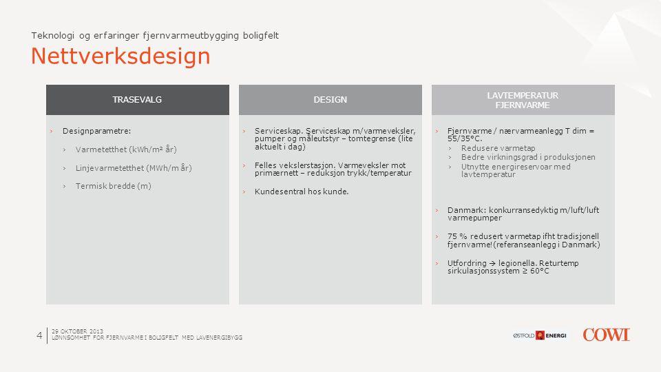 4 Nettverksdesign Teknologi og erfaringer fjernvarmeutbygging boligfelt TRASEVALG ›Designparametre: ›Varmetetthet (kWh/m² år) ›Linjevarmetetthet (MWh/