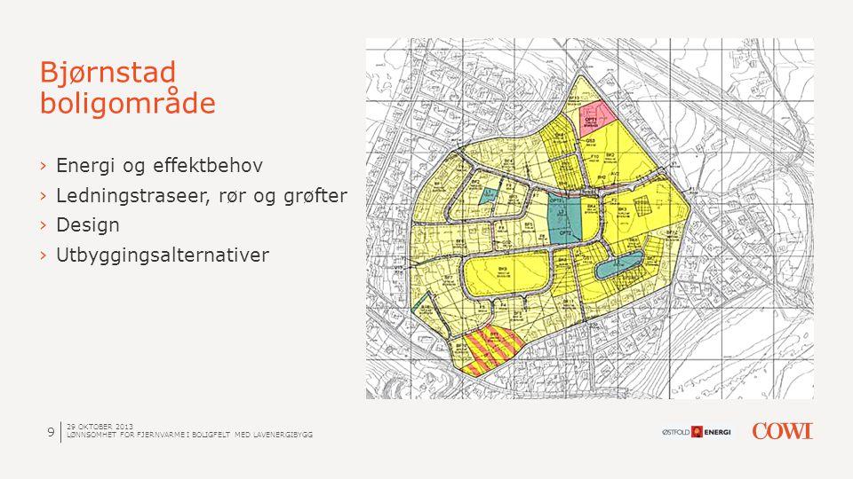 10 Energi - og effektbehov Bjørnstad boligområde FORUTSETNINGER: OPPVARMING OG VENTILASJON ENEBOLIG: LAVENERGIBOLIGER OPPVARMING OG VENTILASJON REKKEHUS/LEILIGHET: TAPPEVANN: ENEBOLIG: REKKEHUS: LEILIGHETER: 28 W/m² og 30 kWh/m²år 24 W/m² og 23 kWh/m²år 35kWh/m² 160 m² x 53 120 m² x 141 75 m² x 209 29 OKTOBER 2013 LØNNSOMHET FOR FJERNVARME I BOLIGFELT MED LAVENERGIBYGG ENEBOLIG REKKEHUS LEILIGHETER BARNEHAGE TOTALT Energi (MWh) 551 981 909 212 2654 Effekt (MW) 0,34 0,58 0,53 0,12 1,6 Varmetetthet  21 kWh/m² år