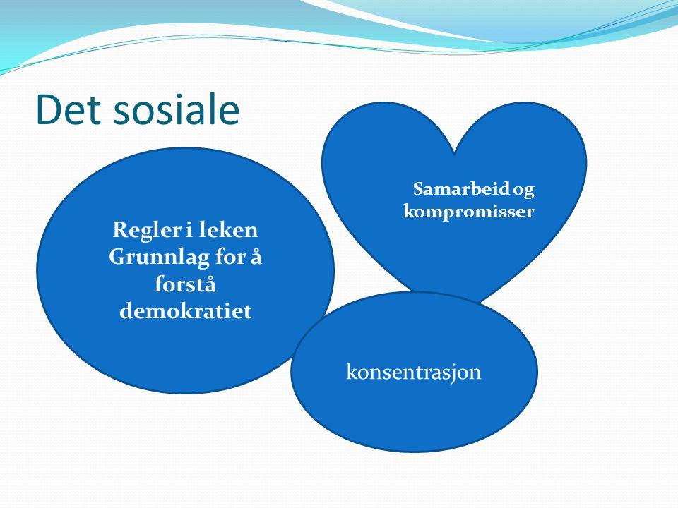 Det sosiale Regler i leken Grunnlag for å forstå demokratiet Samarbeid og kompromisser konsentrasjon