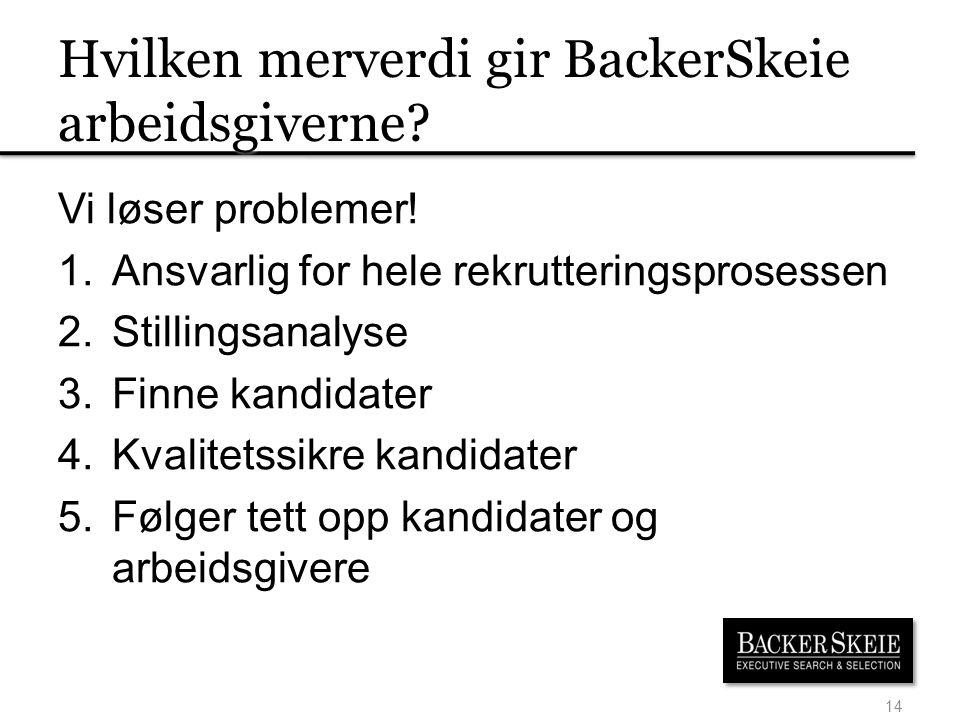 Hvilken merverdi gir BackerSkeie arbeidsgiverne.Vi løser problemer.