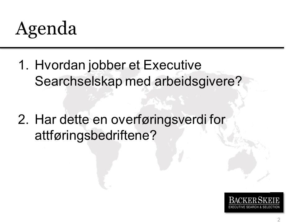 Agenda 2 1.Hvordan jobber et Executive Searchselskap med arbeidsgivere.