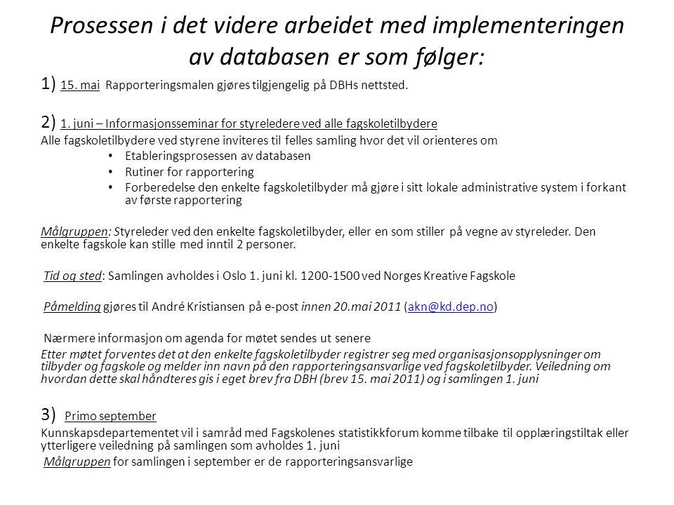 Prosessen i det videre arbeidet med implementeringen av databasen er som følger: 1) 15.