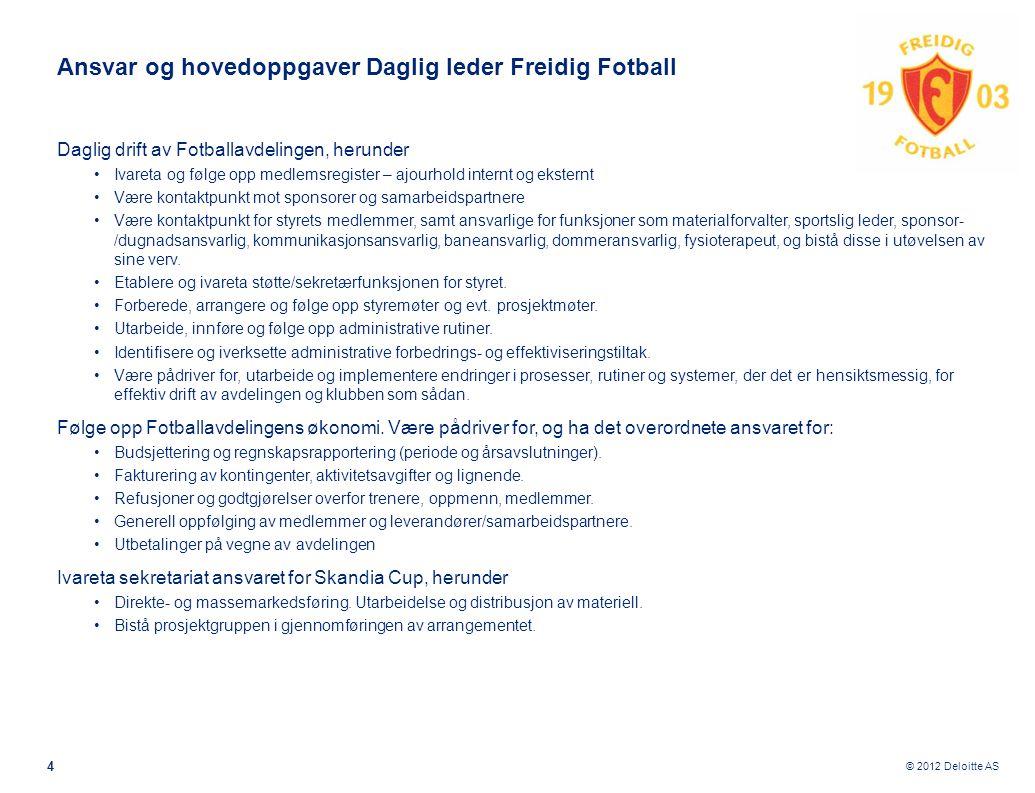 © 2012 Deloitte AS Ansvar og hovedoppgaver Daglig leder Freidig Fotball Daglig drift av Fotballavdelingen, herunder •Ivareta og følge opp medlemsregis