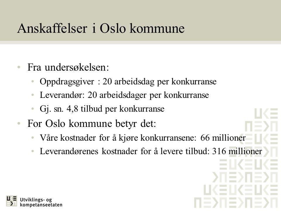 Anskaffelser i Oslo kommune •Fra undersøkelsen: •Oppdragsgiver : 20 arbeidsdag per konkurranse •Leverandør: 20 arbeidsdager per konkurranse •Gj. sn. 4
