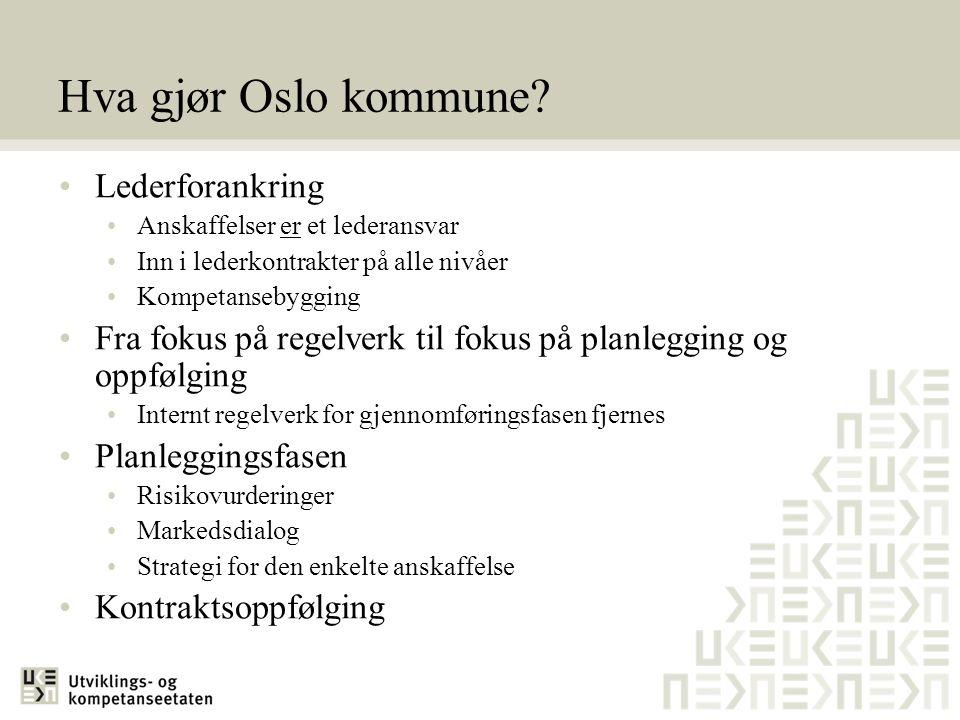 Hva gjør Oslo kommune? •Lederforankring •Anskaffelser er et lederansvar •Inn i lederkontrakter på alle nivåer •Kompetansebygging •Fra fokus på regelve